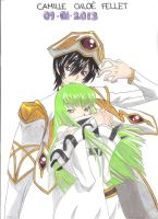 Lelouch Lamperouge and C.C (Code Geass) by CobraxKinana