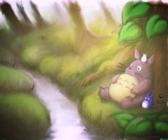 Totoro lazy day by Veebster