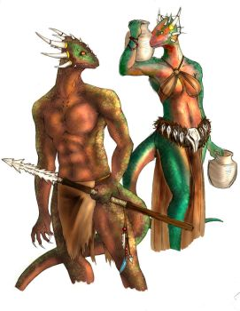 Black Marsh Argonians by Suzuchan