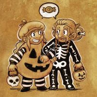 Fee and Kee Trick-or-Treat by nerdeeart