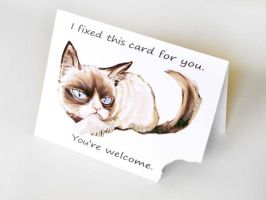 Grumpy Cat Greeting Card by sobeyondthis