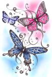 3 drawn butterflies by ashdesigns