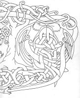 Fenrir Huhin Mugin Jormungandr Yggdrasil outline B by Tattoo-Design