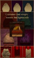Backgrounds empty rooms. Clipart curtains by Lyotta