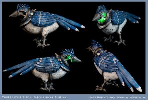 Three Little Birds, Blue Jay by emilySculpts
