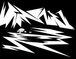 Mountain Turtle in Black and White by redspidey