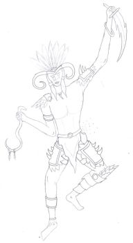 Witch Doctor line sketch by CamKitty2