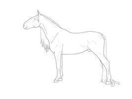 Andalusian Draft Cross Lineart by tazzaroo