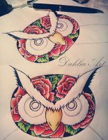 Owl tattoo project by LadySayuri