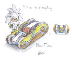 Silver the Hedgehog, Neon Flare concept by CyberMaroon