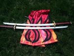 Erza Scarlets Flame Requip Pants and Katanas. by BeCOSyouPLAY