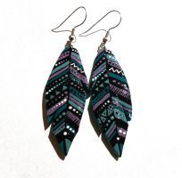 clay feather earrings by JuniperJewelry