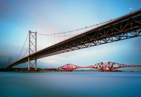 Forth Bridges in the gloaming by kharashov