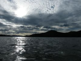 Dark Rippled Lake and Sky by tablelander