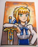 Fate Stay Night Saber ACEO by ladyriven