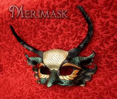 Feathered Basilisk Leather Dragon Mask by merimask