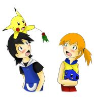 Pokeshipping: Mistletoe by xmizuwaterx