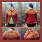 Datlof cardigan - Boevertun kofte with round yoke by KnitLizzy