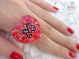 Red Bow heart ring resin by SomethinSweet