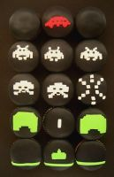 space invaders cupcakes by sagethemouse