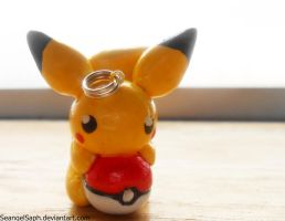 Chibi Pikachu on a Pokeball by SeangelSaph