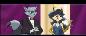 sly and carmelita in a party by FCC93
