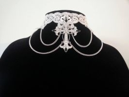 Gothic/Renaissance Style Cross and Lace Choker by MysticalMayhemJewel