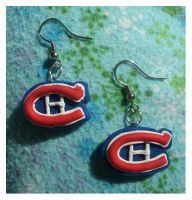 Montreal Canadiens earrings by estranged-illusions