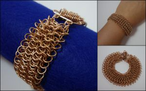 Layered bronze chainmail bracelet by MermaidsTreasury