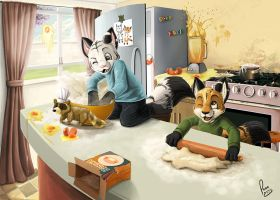 mess in the kitchen by pandapaco