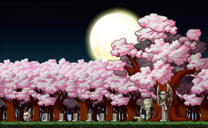 Cherry Blossom Graveyard Custom Background by EightQueens