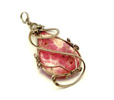 Wire Wrap Pendant with Rhodochrosite stone by hyppiechic