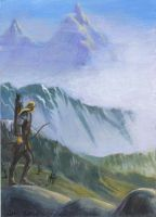 Legolas on the Mountain by jedipencil