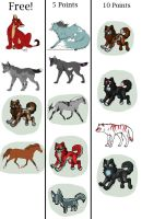 ALL FREE ADOPTABLES by Fells-Adopts