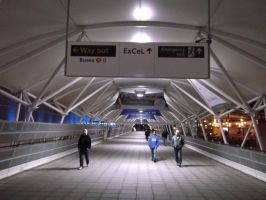 Excel Centre, Thursday (night) Bridge Entrance by The-Nelo-Angelo