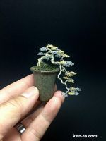 Gold and Silver cascade wire bonsai tree by KenToArt