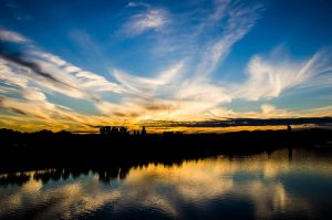 sunset at Danube Island by vovgm06