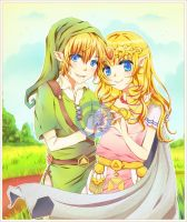 Link and Zelda by Adelling