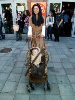 Leia from Endor and her ewok baby by V-kony