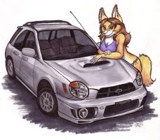 Juliana with Subaru WRX Wagon by foxyfennec