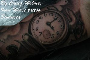 pocket watch tattoo by Craig Holmes by CraigHolmesTattoo
