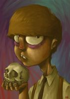 Poartait with a skull by nemofish1001