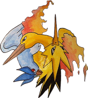 Moltres Zapdos and Articuno by Tsuani-Inushiro