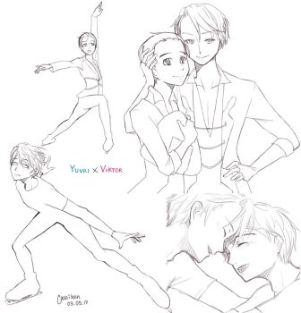 Viktor X Yuuri Collage by cassileen