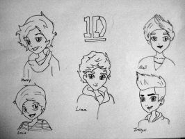 One Direction Chibis (no color) by ConsultingTimeLord96