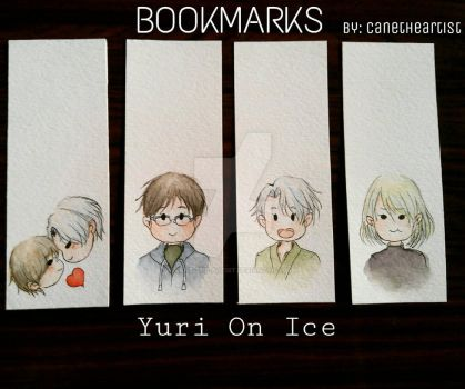 Yuri On Ice bookmarks (sets of 4) by Cane-the-artist