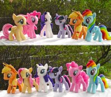My Little Pony Main Cast Plushies plus pattern by dolphinwing