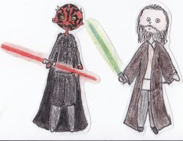 Paper Star Wars - Darth Maul and Qui-Gon Jinn by Glorfindelle