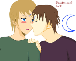 Damien almost kiss Jack by Kasumi121
