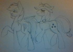 Rainbow dash and AJ Sketch by shadow-wing-lover